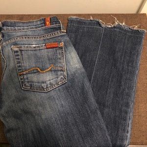 7 For All Mankind Jeans - 7 for all mankind dark blue faded frayed jeans 25